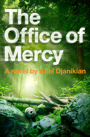 The Office of Mercy cover art. A photograph of sun shining through trees onto a pile of logs