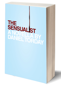 The Sensualist cover art. Red text against a light blue background