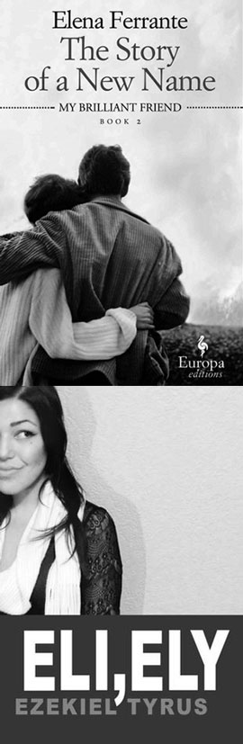The Story of a New Name cover art. A black-and-white photograph of two people hugging. Below, Eli, Ely cover art. A black-and-white photograph of a woman standing against a wall