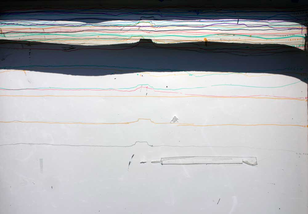 Lines of Demarcation (detail), ink on vellum, variable, 2012-2013