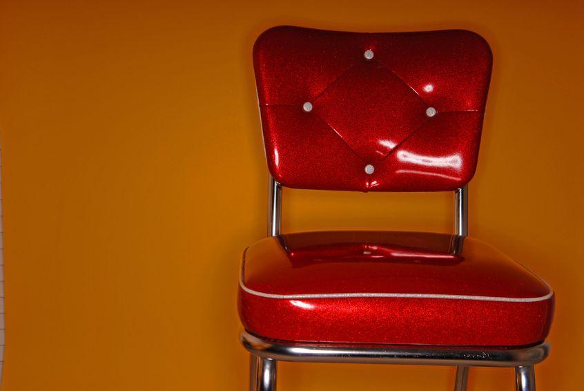 red vinyl chair