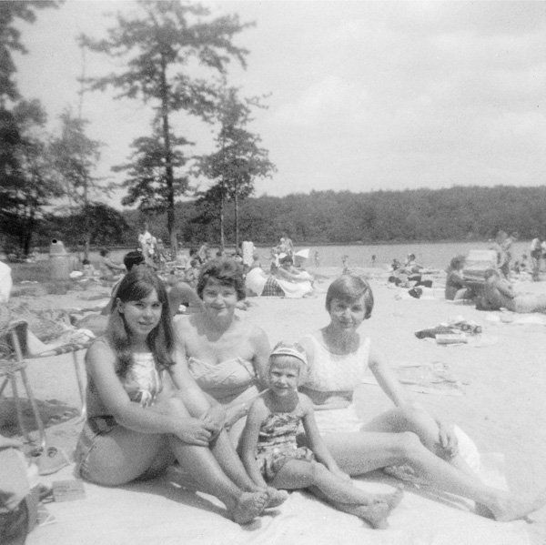 My cousin Karen, Aunt Dorothy, sister Janee, my mother, Promised Land Lake, c. 1966.