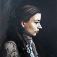 Self-Portrait in Profile, Oil on Canvas, 16 x 20, 2014