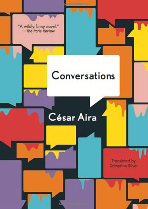 Conversations cover art. Blank multicolored dialogue boxes with paint dripping into them