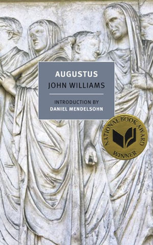 Augustus cover art. A photograph of three statues of men in robes