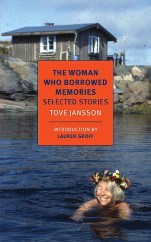 The Woman who Borrowed Memories cover art. A photograph of a woman laughing in a lake in front of an old brown house