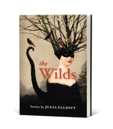The Wilds cover art. A woman sits in a black mask. Her hair transforms into a tree and her tail into a curvy shape with a bird at its top