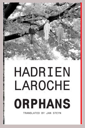 Orphans cover art. A black-and-white photograph of three children hanging dead from a tree