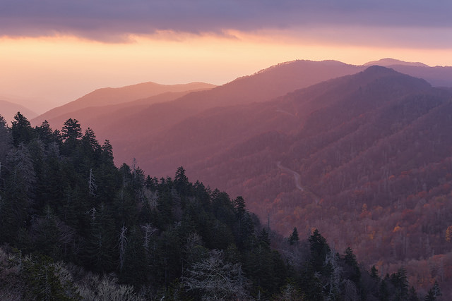 Leaving Appalachia, hilly mountains turned pink and orange by sunset