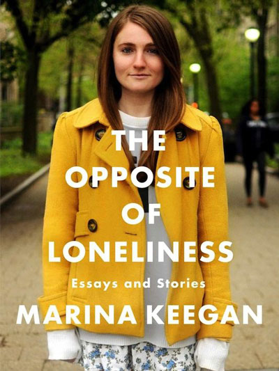 The Opposite of Loneliness cover art. A woman in a yellow coat stands in a park.