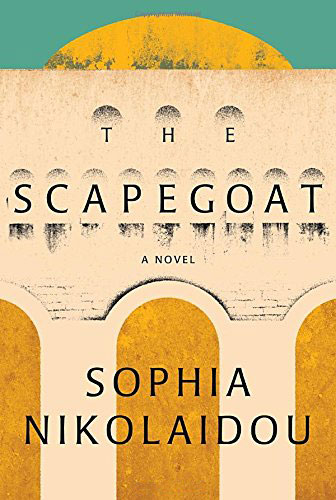 The Scapegoat cover art. Geometric artwork of a columned building beneath a hint of sun