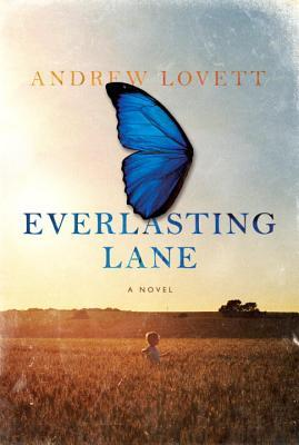 Everlasting Lane cover art. A photograph of a human figure walking in a field. A butterfly wing sits on top of the image in the sky