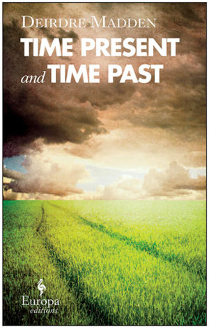 Time Present and Time Past cover art. A photograph of a grass field under stormy grey clouds