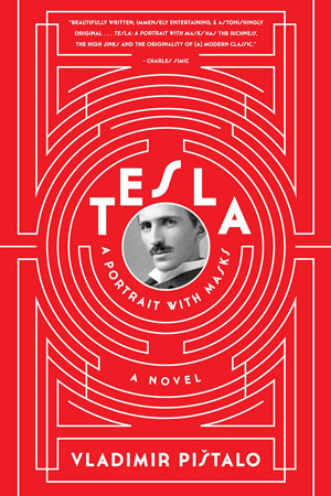 Tesla: A Portrait with Masks cover art. White lines forming a circular maze on a red background