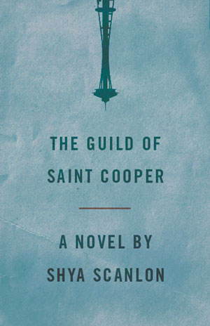 The Guild of Saint Cooper cover art. A shadow of the Seattle Space Needle upside down at the top of the page, against an otherwise gray background