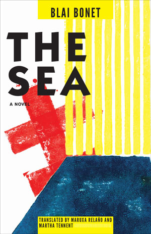 The Sea cover art. Geometric art involving a dark blue shape at the bottom, vertical yellow bars on the right, and a red line with two slashes through it on the left