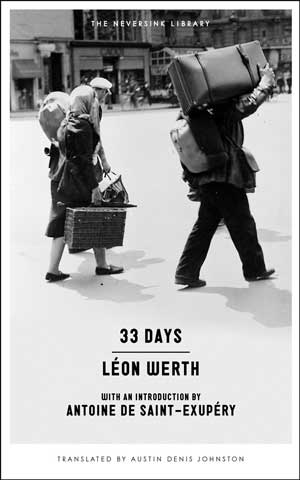 33 Days book jacket; family carrying possessions