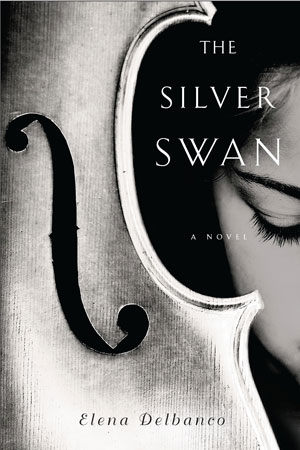 Silver Swan cover art. Close-up of a woman's face next to a close-up of the body of a violin