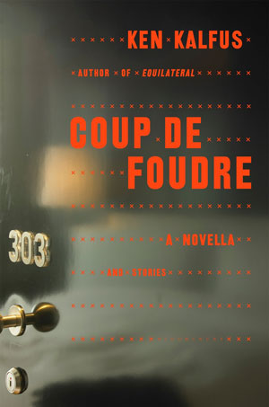 Coup de Foudre cover art. A photograph of a black door reflecting a hotel bed.