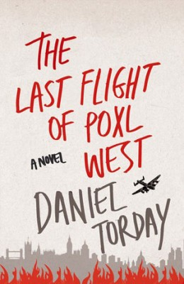 The Last Flight of Poxl West cover art. Artwork of a plane flying over London