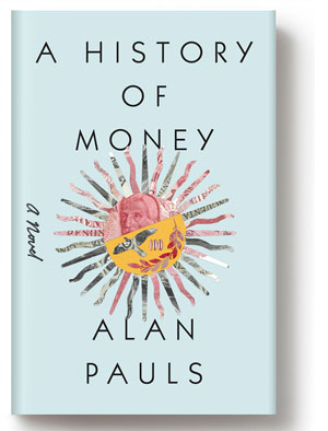 A History of Money cover art. A sun with thin, colorful rays against a light blue background