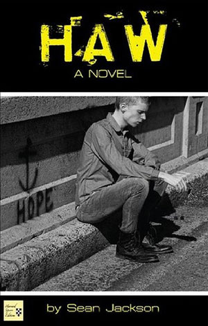 "Haw cover art. A black-and-white photograph of a man sitting on a curb, with the word ""HOPE"" graffitied in the background"