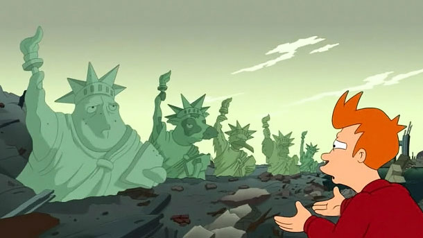 Why-I-Write, character fry from futurama looking at row of statues of liberty