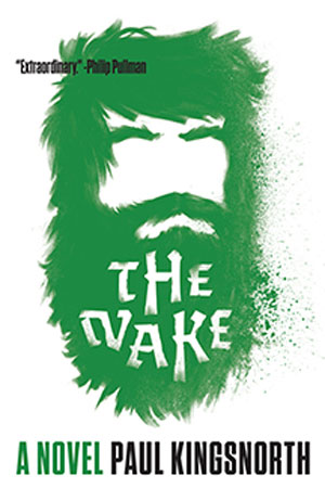 The Wake Portrait cover art. The outline of a man's face in green hair, with a beard that has the title words cut into it in white