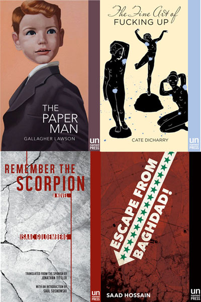 The cover art of four novels: The Paper Man, with a painting of a young boy. The Fine Art of Fucking Up, with black figurines of dances. Remember the Scorpion, red ink against a grey background. And Escape Room Baghdad with an arrow filled in with green stars.