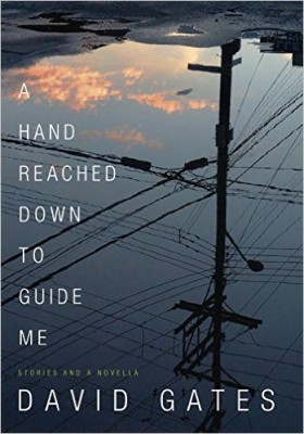 A Hand Reached Down to Guide Me cover art. An upside-down photo of a telephone pole against a darkening blue sky