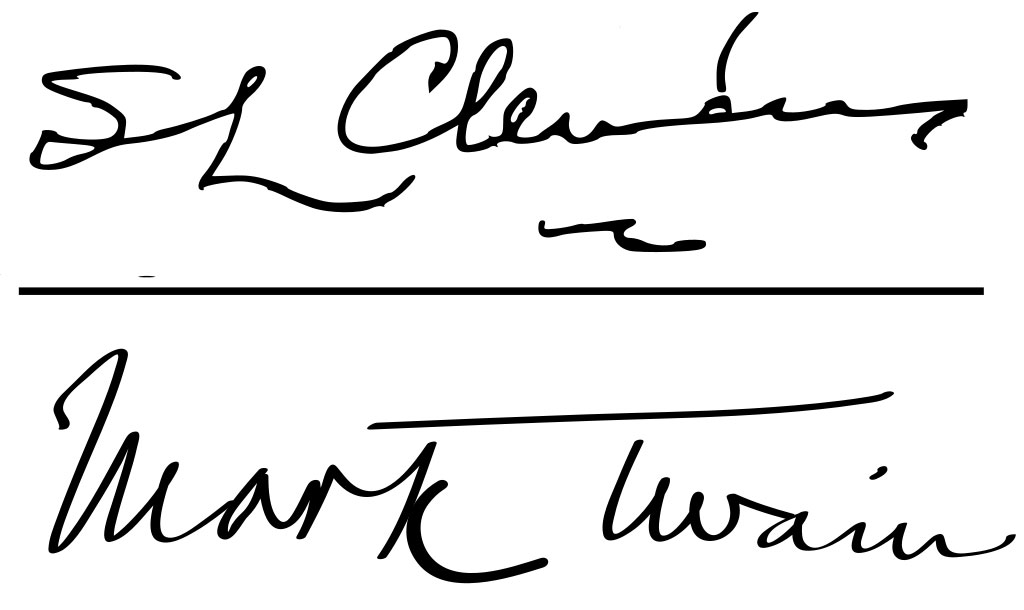 Samuel Clemens and Mark Twain signature