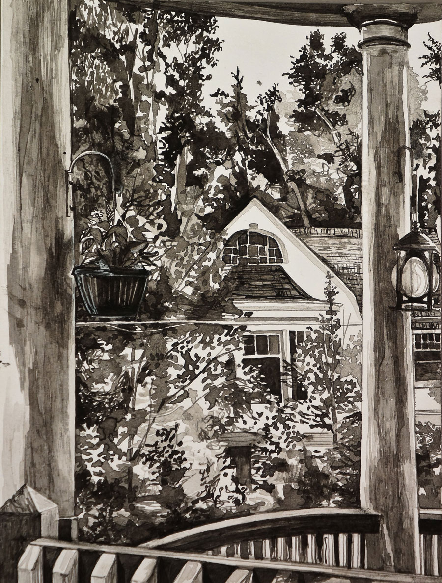 """Porch on Pelham Road,"" pen and ink, 6""x9"", 2015"