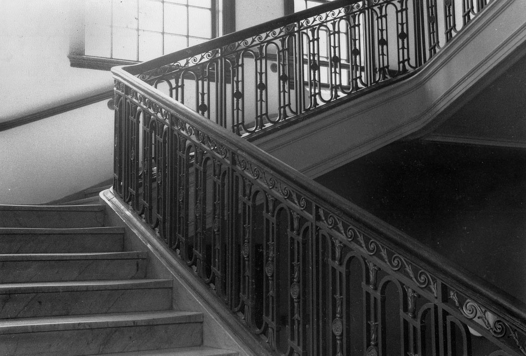 Black-and-white ornate staircase