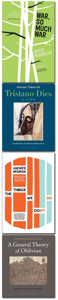 Cover art for the four books. For War, So Much War, white branches against a solid green background. For Tristano Dies, a painting of a person's face. For The Things We Don't Do, vertical orange and blue stripes against a white background. For A General Theory of Oblivion, a painting of a crowd.