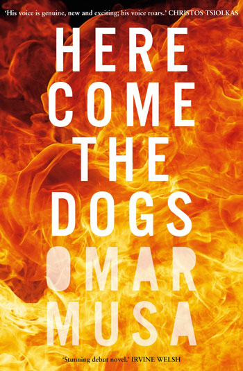 Here Come the Dogs cover art. White text over a raging orange fire