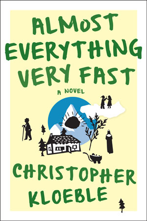 Almost Everything Very Fast cover art. Small black outlines of people, trees, a house, and a sun against a yellow background with large green lettering