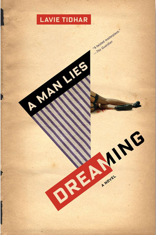 A Man Lies Dreaming cover art. Half of a man's lying body obscured by an purple-striped triangle with the words of the title