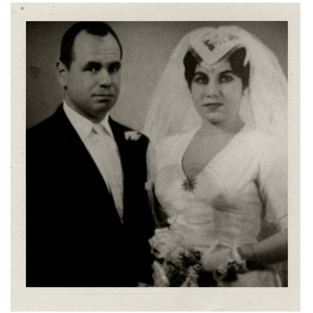 Black-and-white image of Harold and Matilde Bolton on their wedding day