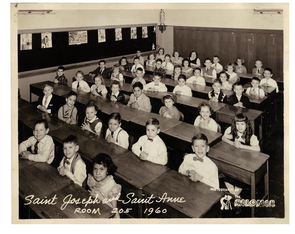 "Children sitting in school room; ""Saint Joseph and Saint Anne, Room 205, 1960."""