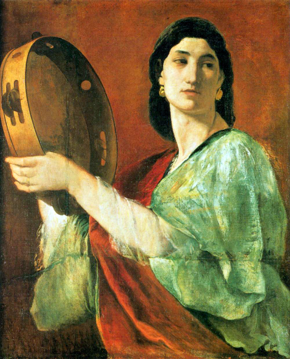 Painting of woman holding up tambourine