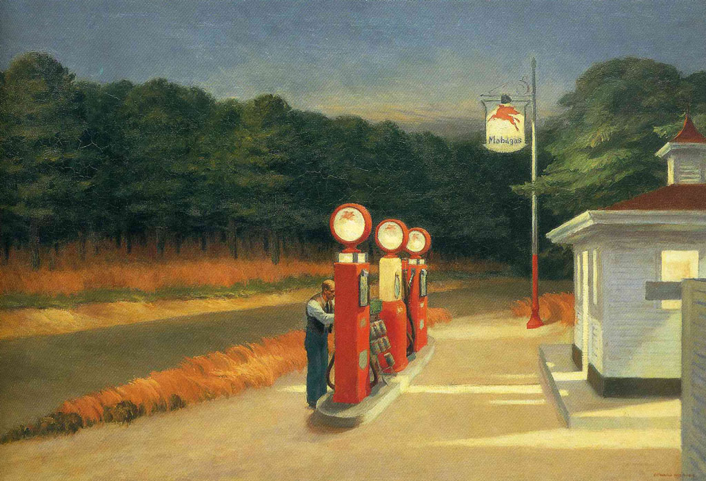 """The Gas Station"" by Edward Hopper, 1940, Museum of Modern Art"