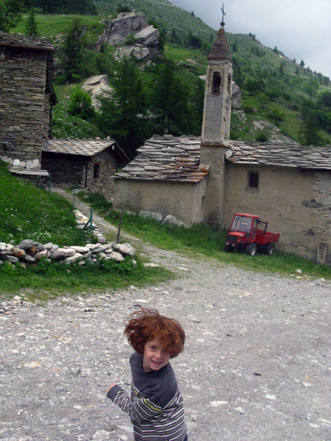 Near Torino, pictured is the author's son at age 6.