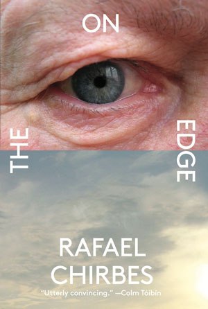 On the Edge cover art. An old man's blue eye above a photograph of cloudy sky