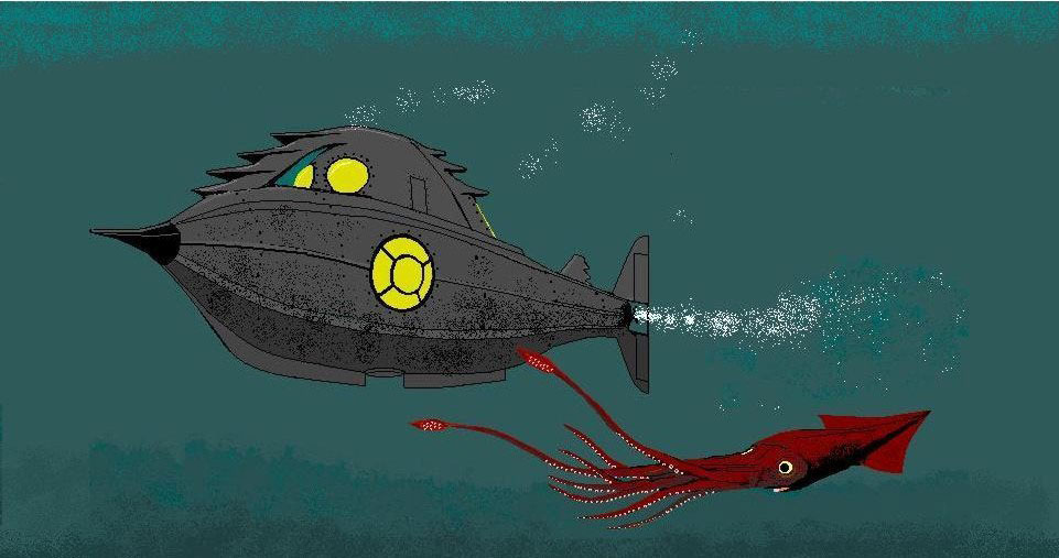 Illustration of a submarine next to a giant red squid