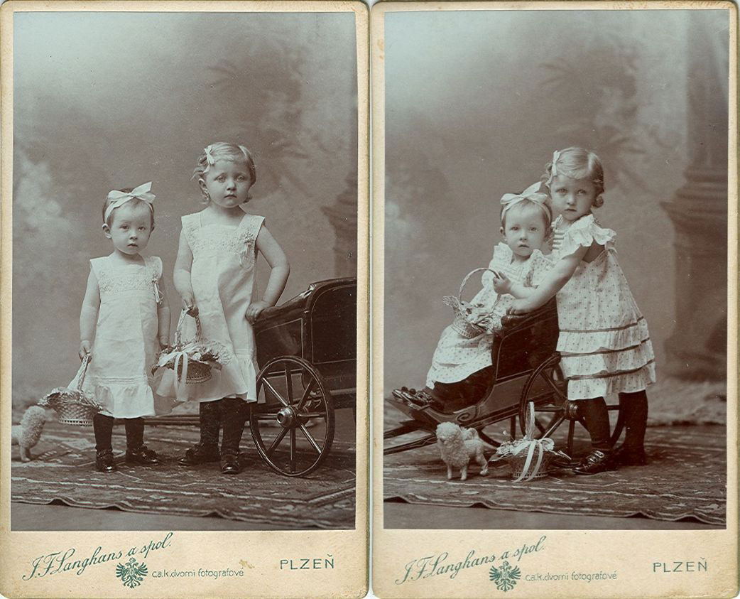 Vintage 19th-century photos of two little girls standing next to each other