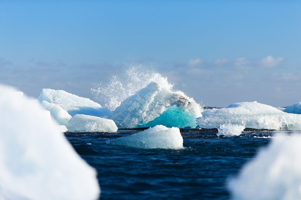 Icebergs in the ocean