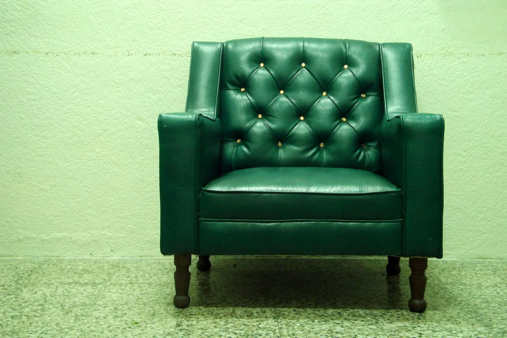 Vintage green leather chair