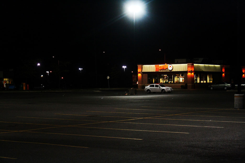 Empty Wendy's parking lot at night