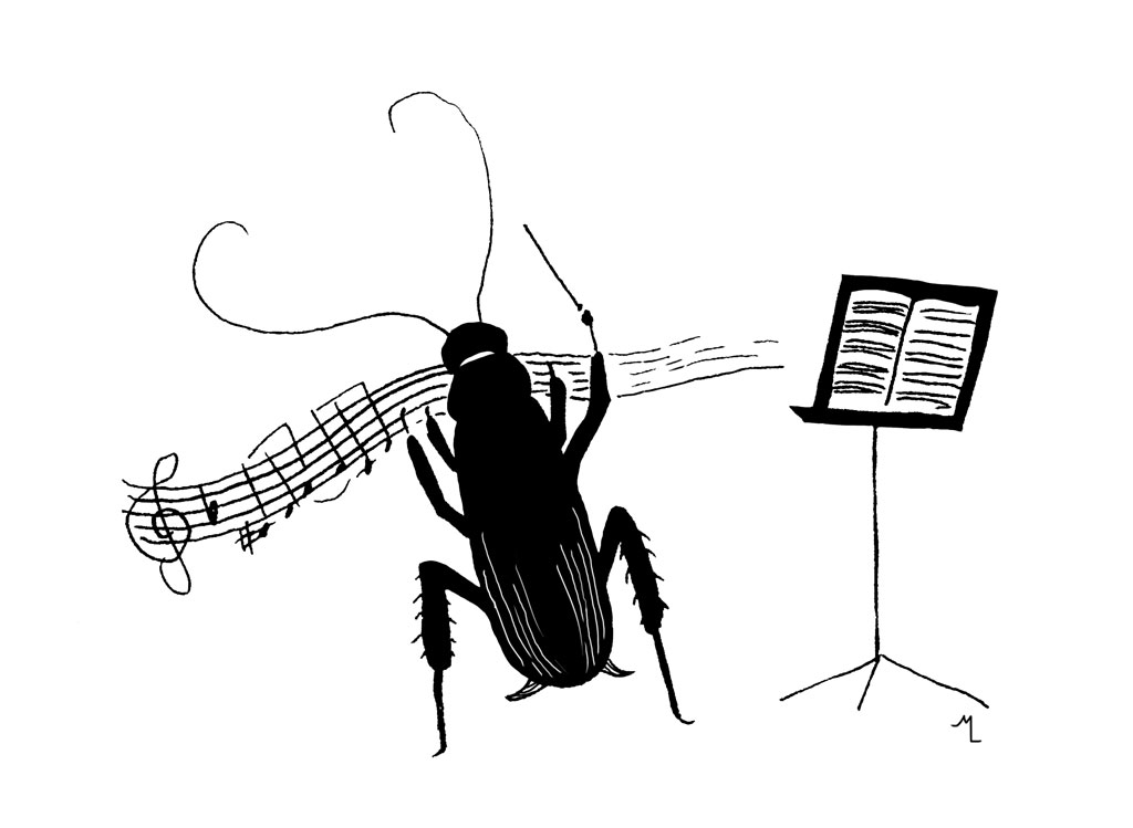 A cockroach maestro directing music next to a music stand