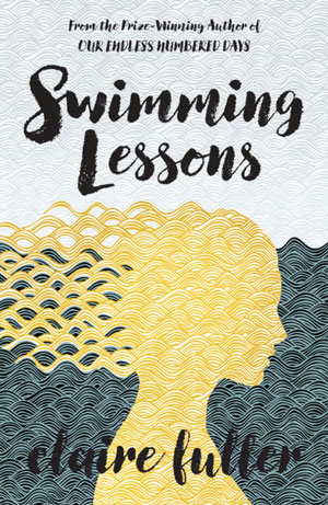 Swimming Lessons cover art. A weaved patter of a girl with golden hair standing in front of a gray-blue sea underneath a light gray sky